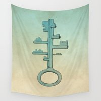 key Wall Tapestries featuring Key by Mild Visualitis