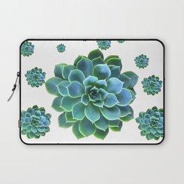 WHITE MODERN ART TURQUOISE BLUE SUCCULENT Laptop Sleeve