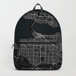 Vancouver City Map of Canada - Dark Backpack