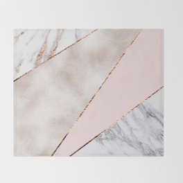 Spliced mixed rose gold marble Throw Blanket