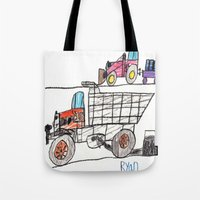 pocket fuel Tote Bags featuring Taking on Fuel by Ryan van Gogh