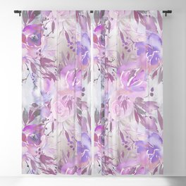 Pink lilac lavender watercolor hand painted floral Blackout Curtain
