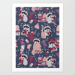 Hygge raccoon Art Print