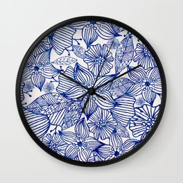 Hand painted royal blue white watercolor floral illustration Wall Clock