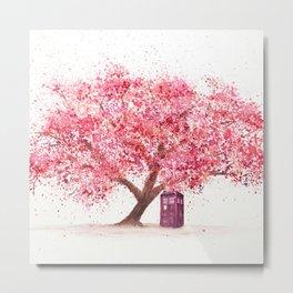 Tardis Art Autumn Tree Blossom Metal Print