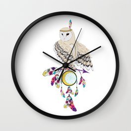 Owl with dreamcatcher Wall Clock