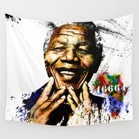 mandela Wall Tapestries featuring Nelson Mandela by D77 The DigArtisT