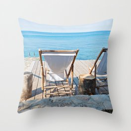 Wooden floor with chaise-longues and bue sea in Istria, Croatian coast Throw Pillow