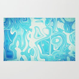 Abstract blue surreal Rug