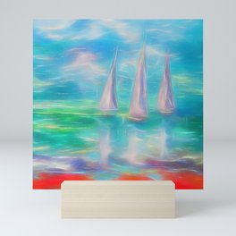 Emerald Morning Oil Painting with a Palette Knife  Mini Art Print