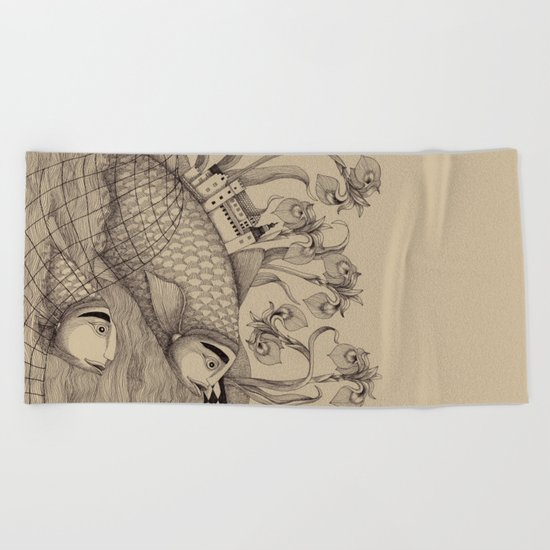 The Golden Fish (1) Beach Towel