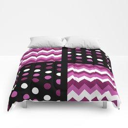 Black/Two-Tone Mulberry/White Chevron/Polkadot Comforters