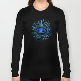 All Seeing Eye in Blue Watercolor Long Sleeve T-shirt