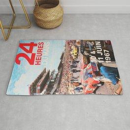 24hs Le Mans 1967, vintage poster Rug