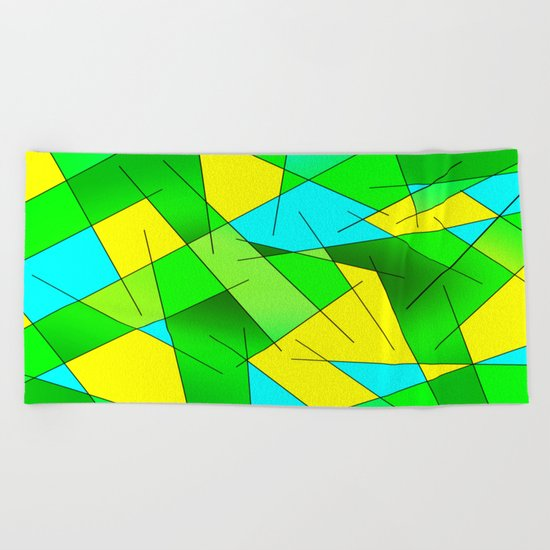 ABSTRACT LINES #1 (Greens, Yellow, Light Blue-Aquamarine) Beach Towel