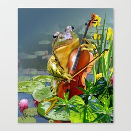 Realistic Print of Frog Playing Cello Canvas Print