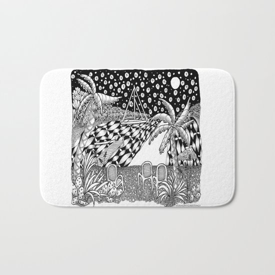Sailboat Night at Sea - Black and White Zentangle Illustration Bath Mat