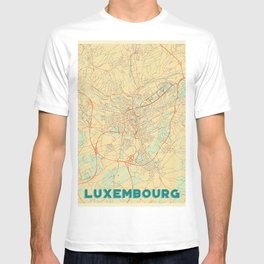 Luxembourg Map Retro T-shirt
