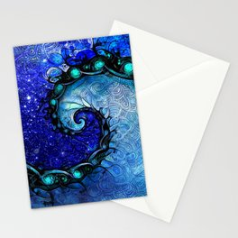 Beautiful Blue Nocturne of Scorpio Sapphire Spiral Stationery Cards