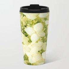The flowers of white hydrangeas. Metal Travel Mug