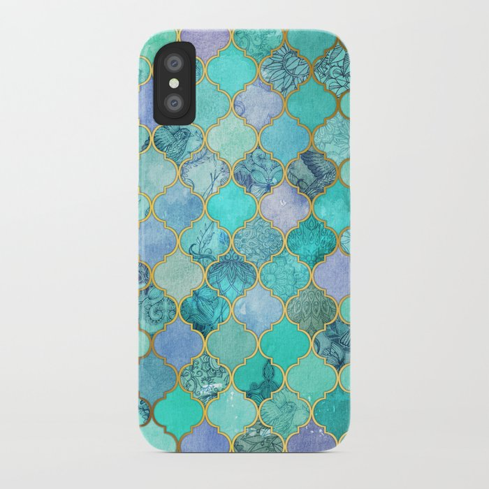 Cool Jade Icy Mint Decorative Moroccan Tile Pattern iPhone Case