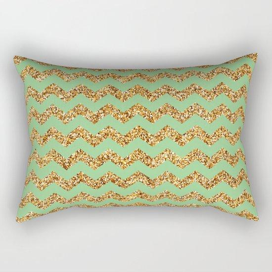 Sea Green Gold Glitter Chevron Rectangular Pillow