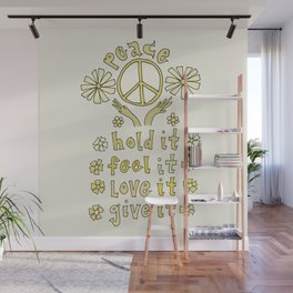 peace feelings flower power // retro art by surfy birdy Wall Mural
