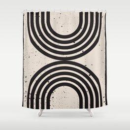 Mid Century Modern Art Print, Abstract Rainbow Arch wall art, Geometric Arch Print, black and white, Shower Curtain
