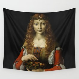 GIRL WITH CHERRIES, by Ambrogio de Predis, 1491_95 Wall Tapestry