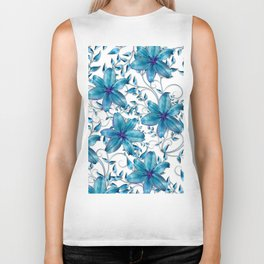 LILY AND VINES BLUE AND WHITE PATTERN Biker Tank