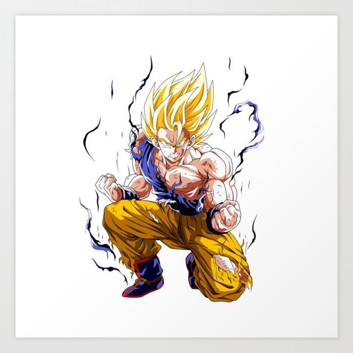 goku super saiyan 2 art print by ognjen society6