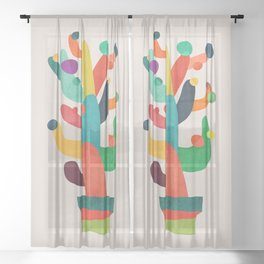 Whimsical Cactus Sheer Curtain