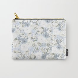 Light Blue Floral Pattern Carry-All Pouch