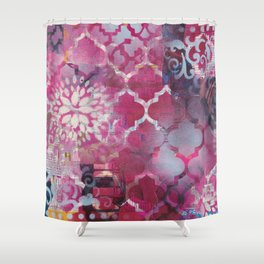 Mixed Media Layered Patterns - Deep Fuchsia Shower Curtain
