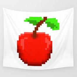 8-Bit Pixel Art Cherry Retro Video Game Design Wall Tapestry
