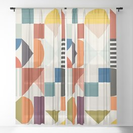 mid century retro shapes geometric Sheer Curtain