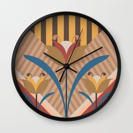 Stripes and flowers Wall Clock