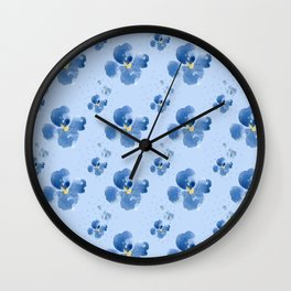 Little Blue Flowers and Dots (light blue background) Wall Clock