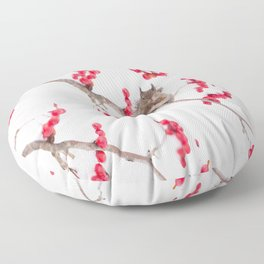 Cute Squirrel With Red Rowan Berries On A White Background  Floor Pillow