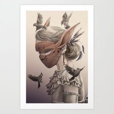 hare and sparrow Full colour  Art Print