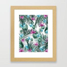 Tropical Flowers & Leaves Paradise #3 #tropical #decor #art #society6 Framed Art Print