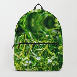 Beautiful small flowers grass blossoming macro surreal shaped symmetrical kaleidoscope Backpack