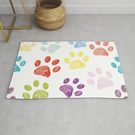 Colorful colored paw print background Rug