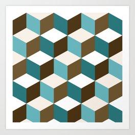 Cubes Pattern Teals Browns Cream White Art Print