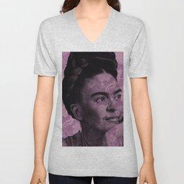 Purple Frida Kahlo Unisex V-Neck