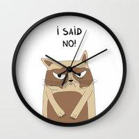 grumpy Wall Clocks featuring Grumpy by Adrian Serghie