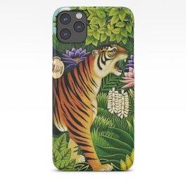 Henri Rousseau Dreaming of Tigers tropical big cat jungle scene by Henri Rousseau iPhone Case