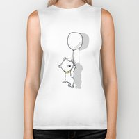 westie Biker Tanks featuring Hungry Westie Puppy by Lucy Olver