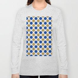 Pastel pink navy blue faux gold glitter polka dots Long Sleeve T-shirt