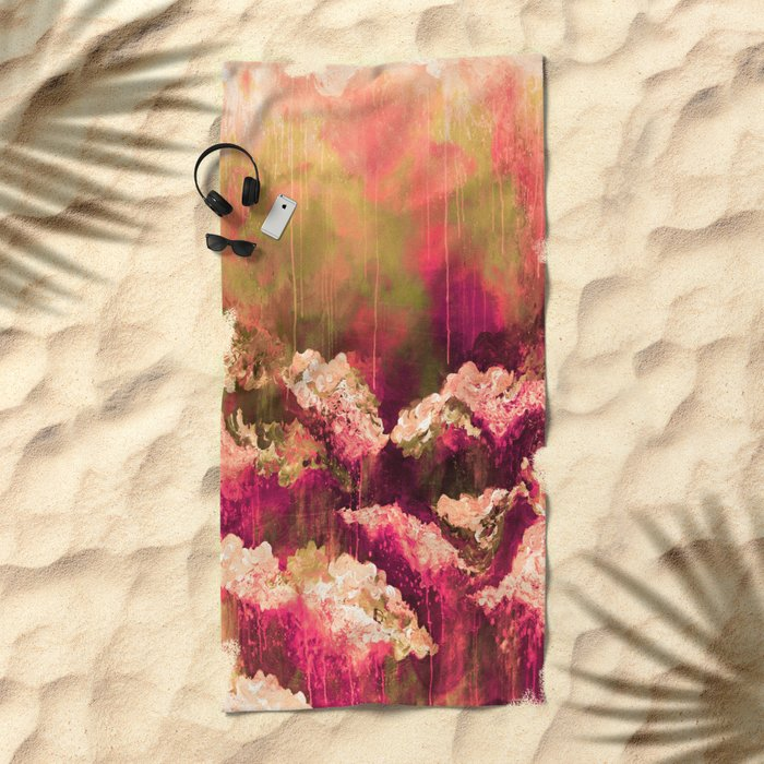 IT'S A ROSE COLORED LIFE 2 - Colorful Floral Garden Chic Abstract Pink White Olive Green Painting Beach Towel